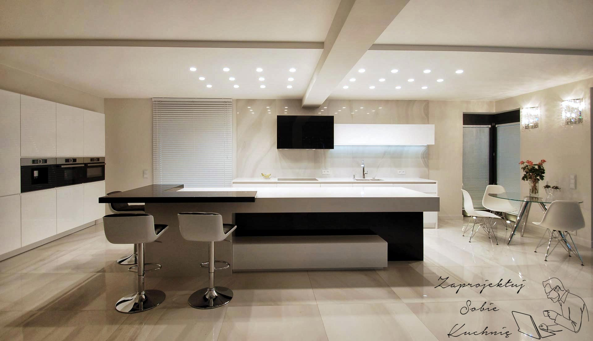 Kuchnia minimalistyczna i blat kuchenny z konglomeratu to bardzo dobre połączenie.